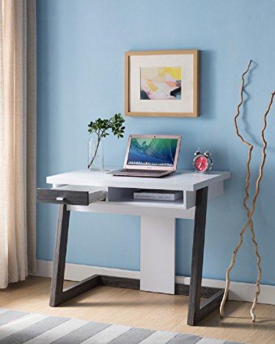 Smart Home 161855 Computer Desk (White & Distressed - Warehouse Me Store Near