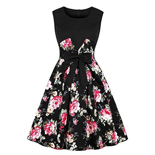 Rakkiss Women Dress Hepburn Dress Print Dress Sleeveless Dress Low Collar Dress Vintage Dress A-Line Dress Black (Vintage Sweatshirt Glamour)