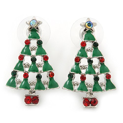 Green Enamel Christmas Tree (Red, Deep Green Crystal, Green Enamel Christmas Tree Stud Earrings In Rhodium Plating - 30mm Length)
