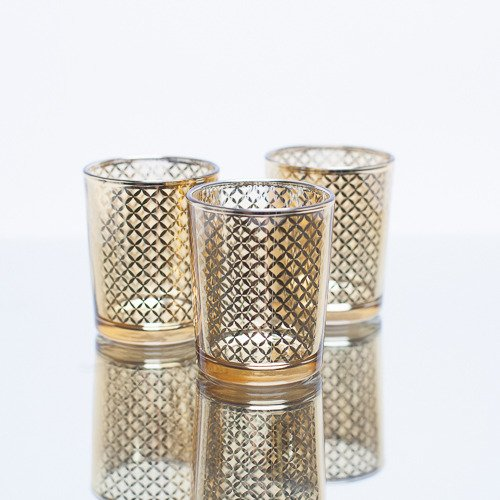 Christmas Tablescape Decor - Small gold metallic lattice glass tealight candle holder - Set of 12