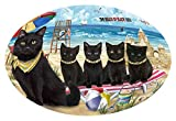Doggie of the Day Pet Friendly Beach Black Cat Oval Envelope Seals OVE62196 (50)