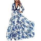 FUNIC Dress, Womens Boho Long Sleeve Dress Long