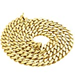 Men's Necklace in 14k Semi-Solid Yellow Gold 8 mm Thick Heavy Miami Cuban Chain (24): more info
