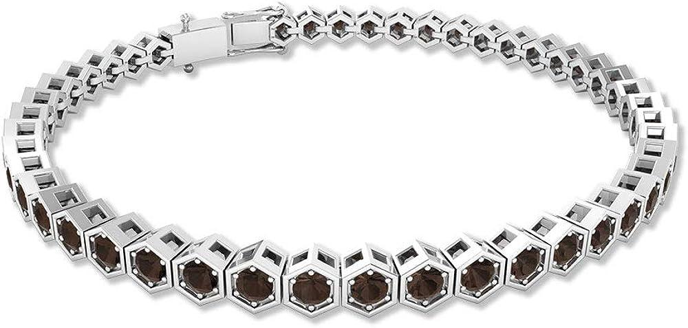 Pulsera de cadena hexagonal de cuarzo ahumado de 3,29 ct, de dama de honor, pulsera de tenis, con certificación SGL, pulsera hermana, 7 pulgadas