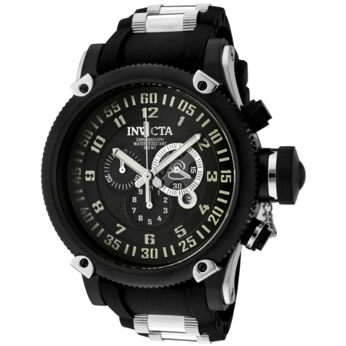 Invicta Men's 0517 Russian Diver Collection Chronograph Black Ion-Plated Watch ()