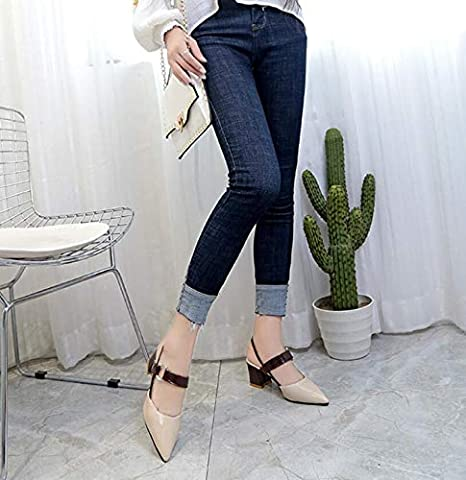 e3643c6cf23 Image Unavailable. Image not available for. Color: 2019 Spring Hollow  coarse Sandals high-Heeled Shallow Mouth Pointed ...