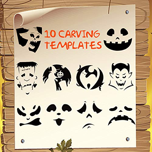 BOBOO Pumpkin Carving Set Halloween Engraving Set Child Carving Tools, 5 Pumpkin Carving Kits, 2 LED Candles and 10 Halloween Style Molds - Pumpkin Party Decoration by BOBOO (Image #2)