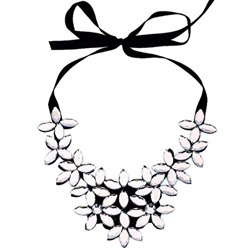 2018 Hot! Flower Ribbon Chain,Leewos Fashion Short Necklace Pendant Crystal Choker Chunky Collar Jewelry Gift Set (White) ()
