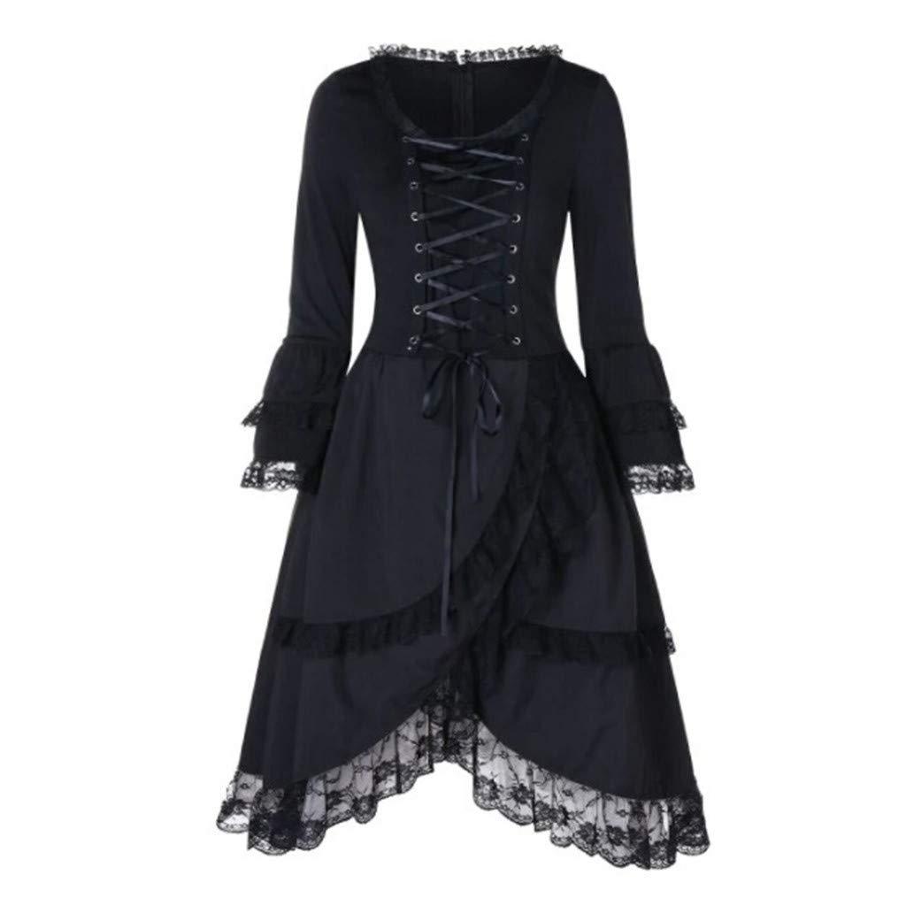 Kstare Steampunk Coat Casual Jackets Retro Victorian Punk Women Long-Sleeved Waist Back Bandage Over Coat Skirt (Black5, 5XL) by Kstare Coat