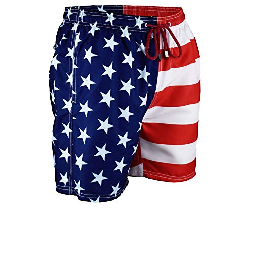 52a0242659 Exist Men's Patriotic USA American Flag Stripes and Stars Quick Dry Beach  Board Shorts Swim Trunks