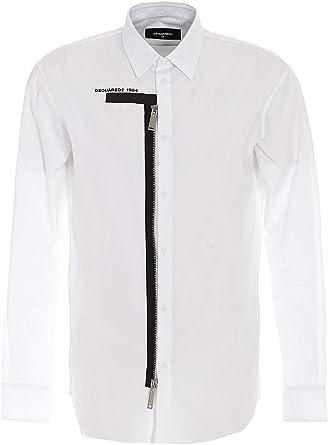 DSQUARED2 Camisa Popelín con Cremallera S74DM0399S36275 Color Blanco.: Amazon.es: Ropa y accesorios