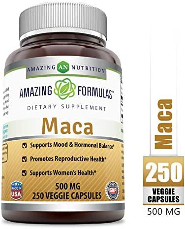 Amazing Formulas Maca - 500 Mg Veggie Capsules (Non-GMO) - Supports Mood & Hormonal Balance - Promotes Reproductive Health - Supports Women's Health. (250 Veggie Capsules)