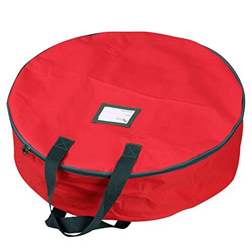 Primode Xmas Wreath Storage Bag with Handles (Red)