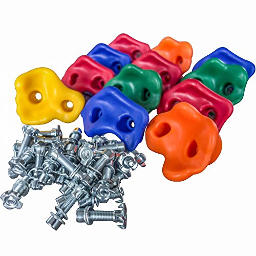 Kids Rock Climbing Holds - Large Assorted Screw On Hand Holds w/ Installation Hardware