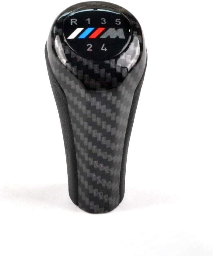 5 Speed Carbon Fiber Gear Shift Knob M Sport Leather for E36 E39 E46 E90 E91