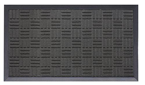 Drainable Mat (OVERSIZE Doormat Shoe Scraper Easy Clean Soft Texture Parquet Design Black)