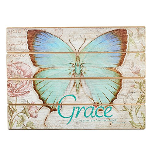 (Grace Decoupaged Wooden Wall Art - Ephesians 2:8, Botanic Butterfly Blessings Collection)