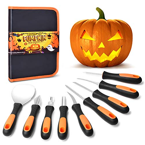 GoStock Pumpkin Carving Kit, Upgrade Soft Grip Rubber Handle 9 Pieces Pumpkin Carving Tools Set Heavy Duty Stainless Steel Masters Carving Kit with Zipper Bag for Halloween Jack-O-Lanterns