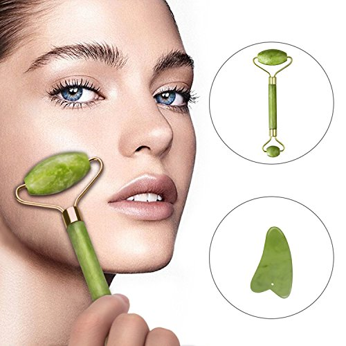 Jade Roller for Face 100% Natural Jade Facial with Gua Sha Scraping Tool Set for Anti Aging & Healing Slimming Massage, Removing Wrinkles, Dark Circles, Puffiness and Sagging Skin (Green)