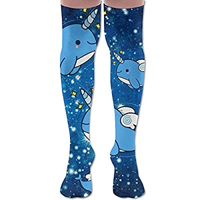 Narwhals Pattern Cute Space Galaxy Women's Over The Knee High Leggings Knee High Socks Thigh-High Stockings