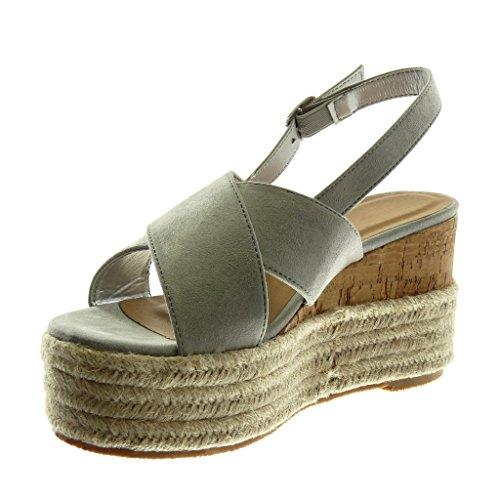 cm Tanga Trenzado Mules 5 Mujer Moda Plataforma Sandalias 9 Correa Angkorly Gris de Claro Zapatillas Plataforma Cuerda Tobillo PvgZnZ