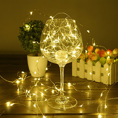 LED String Lights BHCLIGHT Battery Operated Starry Copper Wire Waterproof Décor Rope Lights For Seasonal Decorative Christmas Holiday - Parties - Wedding(50 Leds - 16.5 ft - Warm White)