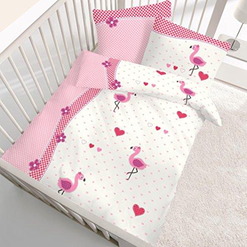 Flamingo Baby Mädchen Bettwäsche Babybettwäsche Kinderbettwäsche Love Flamingo Flowerpower Niedliche Vögel Mit Herzchen Blumen