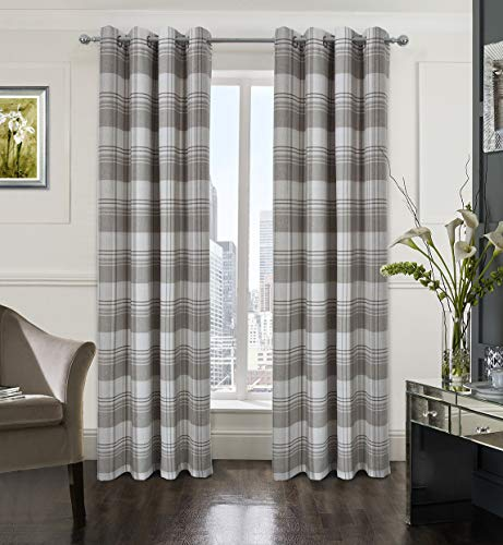 (Alexandra Cole Check Plaid Textured Curtain for Bedroom Window Curtain Panels Set of 2 Gray and White 54x95)