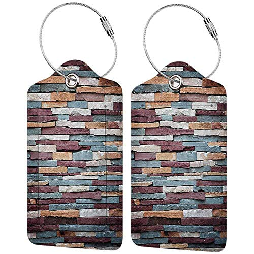 Multi-patterned luggage tag Wall Abstract Background of Colored Stone Surface Retro Style Urban House Brick Design Double-sided printing Mauve Teal and Ivory W2.7