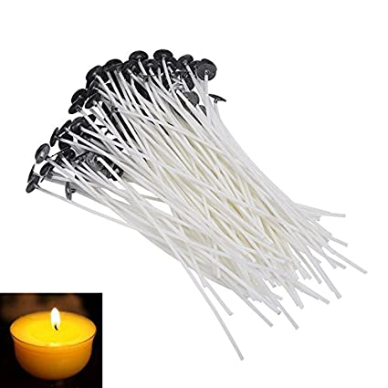 Hosaire 100 Pcs Candle Wick 2.36-Inch Low Smoke Natural Natural Cotton Core for Candle Making Candle DIY