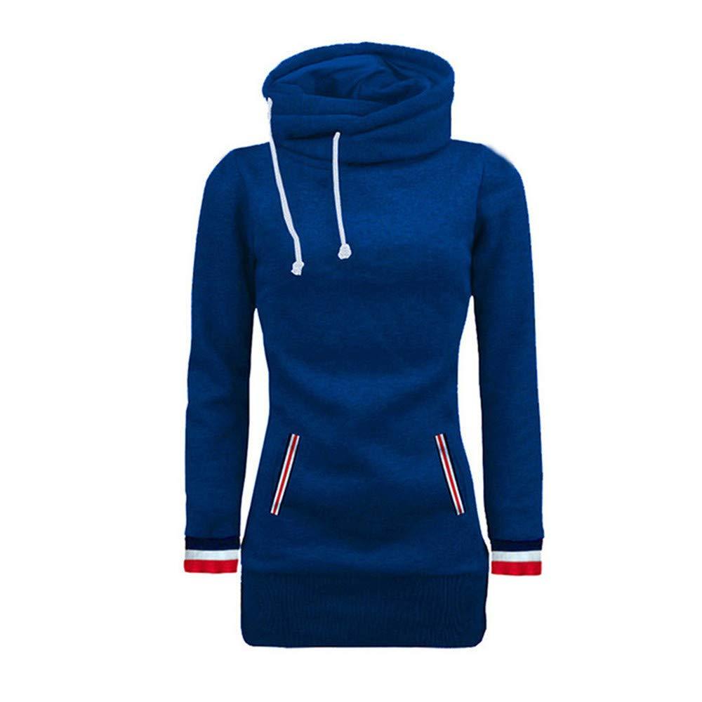 Sweatshirt Women Long Sleeve Turtleneck Patchwork Pocket Hoodies Outerwear Tops Winter Pullovers,Red,M,China
