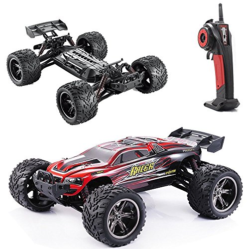 GPTOYS RC Cars S912 LUCTAN 33MPH 1/12 Scale Electric Monster Hobby Truck With Waterproof Electronics, Remote Control Off Road Red Truggy Toys