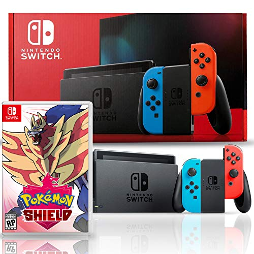 Nintendo Switch with Neon Blue and Red Joy-Con Bundle with Pokemon Shield