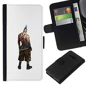 All Phone Most Case / Oferta Especial Cáscara Funda de cuero Monedero Cubierta de proteccion Caso / Wallet Case for Samsung Galaxy Core Prime // Badass Punk Tattoo Ink Man Muscles Hairstyle