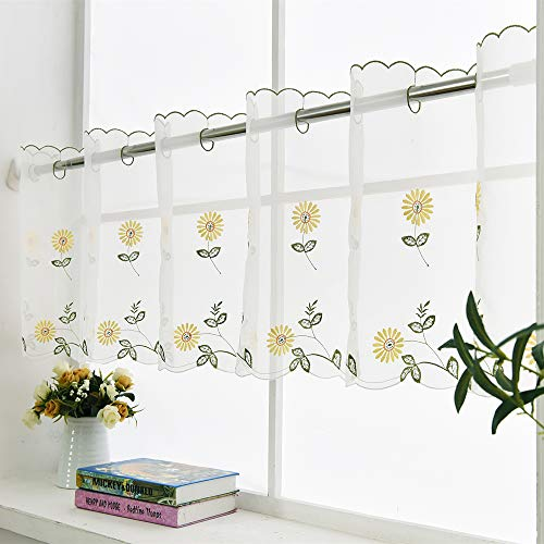 ZHH Pastoral Style Handmade Embroidered Window Valance 70 by 27-inch, White on Yellow Daisy Pattern