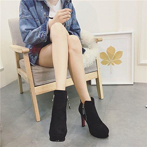 KPHY-Stiefel Europäische und Amerikanische Amerikanische Amerikanische Street Schuhe wasserdicht Einzelne runden Kopf High-Heeled Stiefel Reißverschlüsse Martin Stiefel 6f40cd