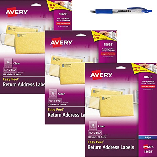 Avery Easy Peel Clear Return Address Labels for Ink Jet Printers, 2/3 X 1.75-Inches, 3 Pack of 600 (18695) Bundle with Blue Retractable Gel Pen (Retractable Gel E-gel Ink Avery)