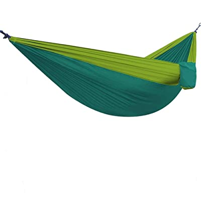 Yingee Camping Hammock, Light Nylon Cloth Parachute Multifunctional Light Double Outdoor Camping Hammock, Sleeping Bag, Camping Camping, Beach, Pier, Garden 2 x Hanger (Green) : Garden & Outdoor