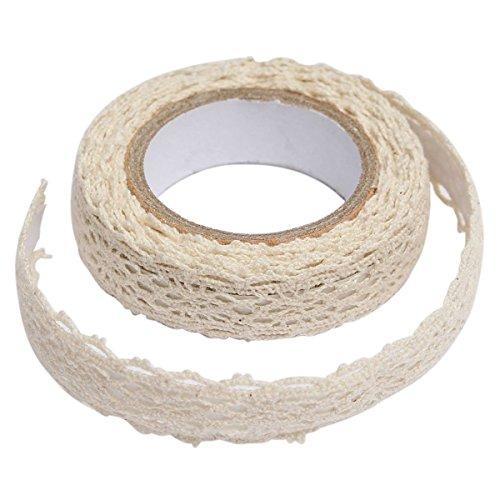 - C-Pioneer 2PCS Craft Adhesive Deco Fabric Tape Rolls Multi-function Adornment Lace Tape (Beige)