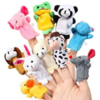 ThinkMax 16 Pack Soft Plush Finger Puppets Set - MANSA 10 Animals + 6 People Family Members Velvet Cute Toys for Children, Story Time, Shows, Playtime, Schools