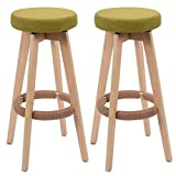 Set of 2 Winsome Round Wood Bar Stool Dining Chair Counter Height 29-Inch Green #729