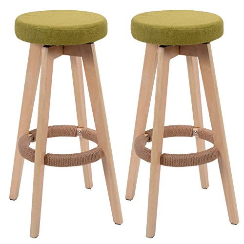 Set of 2 Winsome Round Wood Bar Stool Dining Chair Counter Height 29-Inch Green #729 (Ebay Bar Stools Sale For)