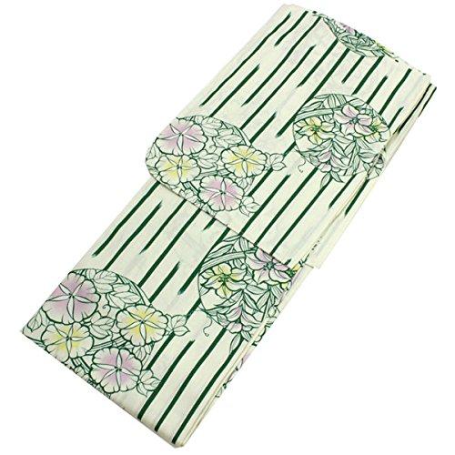 適格顔料ジャニスきもの京小町 女性浴衣 単品 白地緑縞に花柄 フリーサイズ 仕立て上がり 変わり織