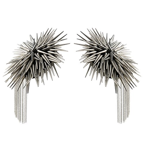 Baosity 1 Pair Metal Cloth Silver Gold Chain Tassel Brooch Epaulet Shoulder Board Mark Punk - Silver by Baosity