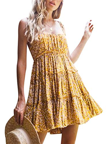 BerryGo Women's Boho Floral Fit and Flare Ruffle Dress Backless Aline Dress Yellow ()