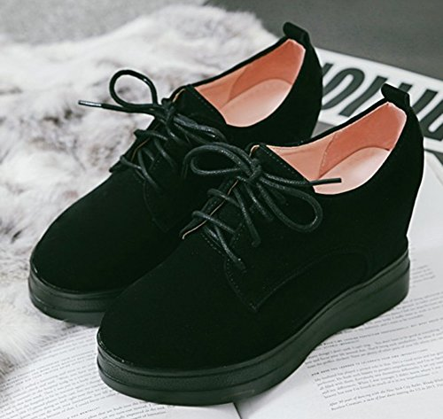 Aisun Women's Casual Round Toe Lace Up Heighten Heels Sneakers Black ZJA3Xsk