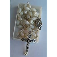 Mother of Pearl Rosary Cross with Mary Medal and Holy Soil From Jerusalem