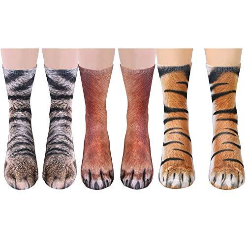 Song Qing Unisex 3D Print Animal Foot Hoof Paw Print Sock Crew -