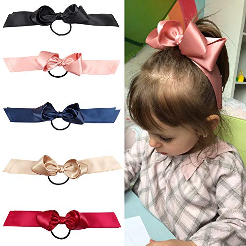 Oaoleer 5 Pcs Hair Elastic Tie Bands for Cheerleading Girls Princess Bowknot Ponytail Holder Hairwear Accessories