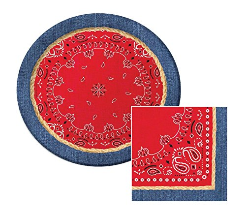 Bandana Western Theme Lunch Napkins & Plates Party Kit for 8 Western Lunch